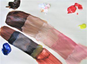 test menging basiskleuren schilderen